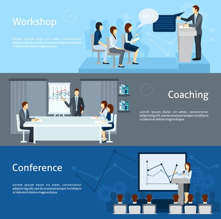 skills: Public speaking skills improving coaching workshop and conference 3 flat horizontal banners set abstract isolated vector illustration Illustration