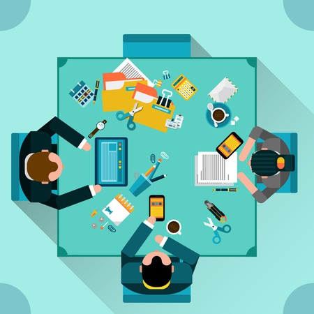 top view people: Office teamwork concept with top view people sitting at the table flat vector illustration
