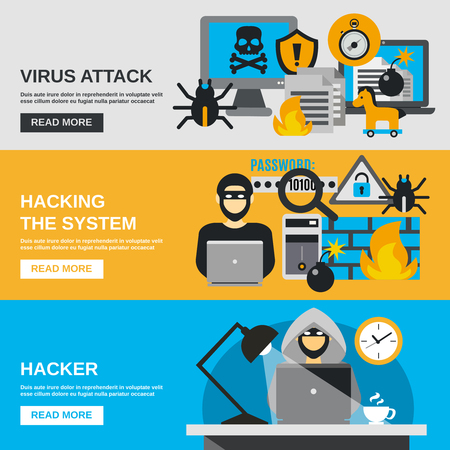 crime: Hacker horizontal banner set with virus attack flat elements isolated vector illustration