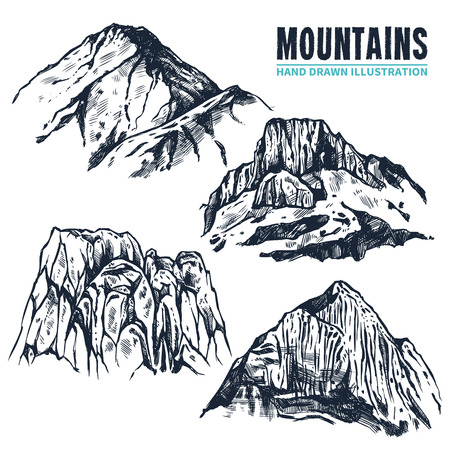 climbing mountain: Hand drawn contours of different forms of mountains and its peaks on white background isolated vector illustration Illustration
