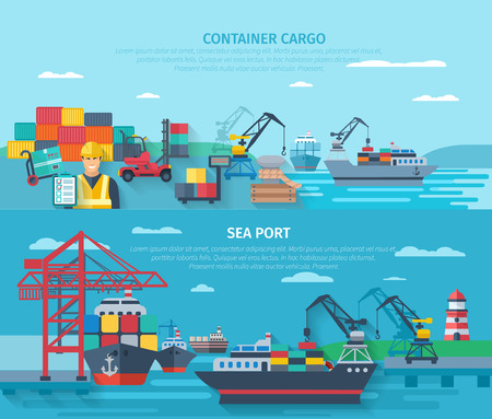 international shipping: Sea port horizontal banner set with container cargo elements flat isolated vector illustration