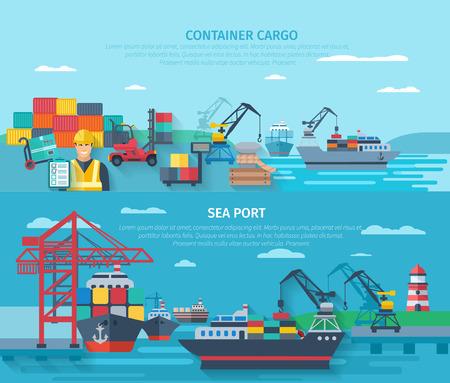 szállítás: Tengeri kikötőváros vízszintes banner szett konténerrakomány elemek lapos elszigetelt vektoros illusztráció Illusztráció