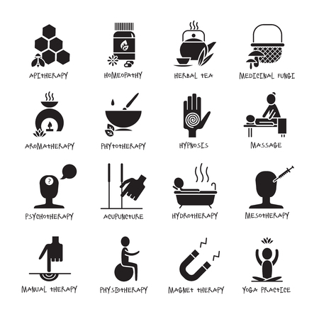 Alternative medicine and healthcare black white icons set with aromatherapy massage and acupuncture flat isolated vector illustration Çizim