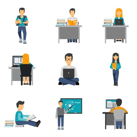 set going: Student studying and reading books flat icons set isolated vector illustration
