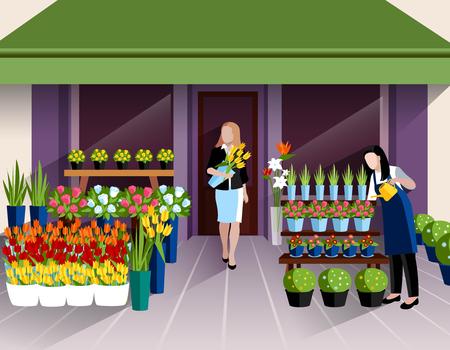 Bloemenwinkel etalage en de klant met bos tulpen bij de ingang banner abstracte illustratie Stock Illustratie