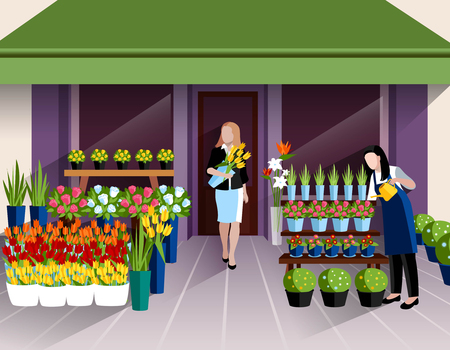window display: Flower shop window display and customer with bunch of tulips at the entrance banner abstract vector illustration