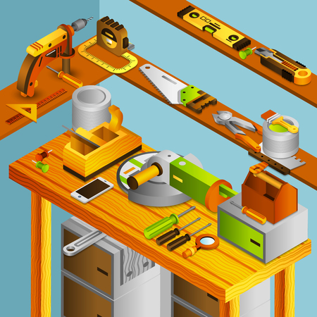 screw jack: Workshop concept with isometric handyman tools on wooden table vector illustration