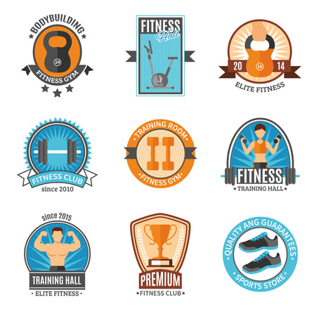 fitness gym: Fitness club and gym hall bodybuilding elite sports store color flat style badges set isolated vector illustration
