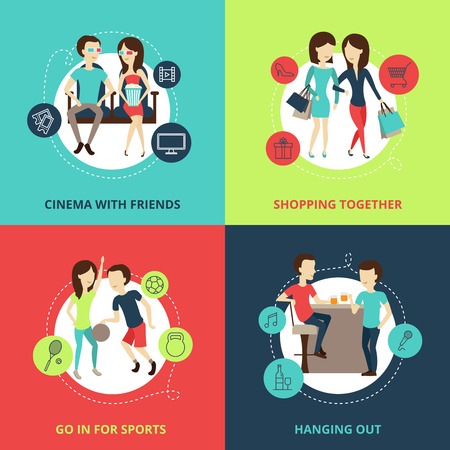 set going: Friends concept icons set with cinema shopping and hanging out symbols flat isolated vector illustration