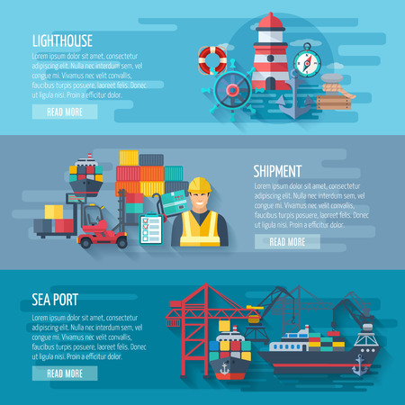 shipments: Sea port horizontal banner set with flat lighthouse and shipment elements isolated vector illustration