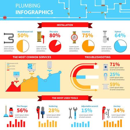 plumbing repair: Plumbing infographic set with installation most common services and tools symbols flat vector illustration Illustration
