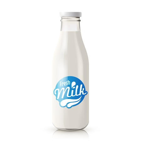 Classic glass milk bottle with blue label isolated on white background realistic vector illustration