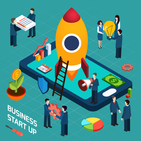 New business startup company successful launch planning concept with rocket start symbol poster isometric abstract vector illustration Illustration