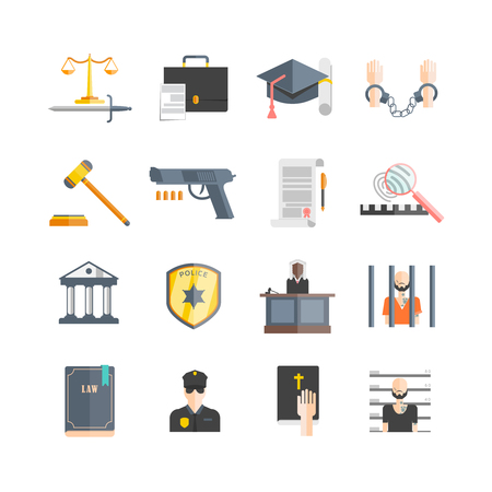 enforcement: Justice and law enforcement icons set with prison and court flat isolated vector illustration