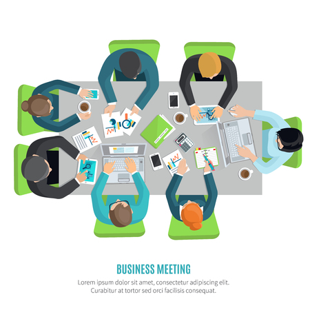 business meeting: Business meeting and group discussion flat concept with men and women at squared office table vector illustration