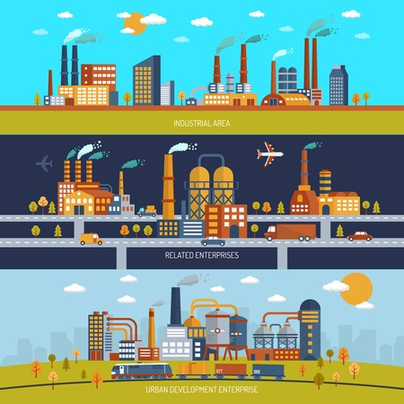 warehouse: Factory horizontal banner set with industrial area buildings flat isolated vector illustration