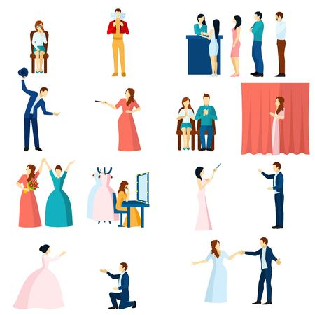 performance art: Theater acting flat icons collection with final love scene performance and audience applause abstract isolated vector illustration