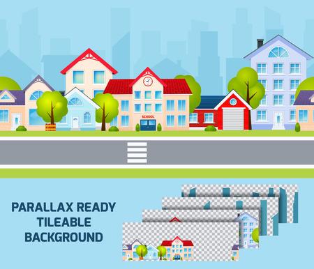 superficie: La luz del día zona residencial vista de la calle paisaje urbano con el centro de la ciudad de paralaje efecto en el fondo ilustración vectorial resumen alicatable Vectores