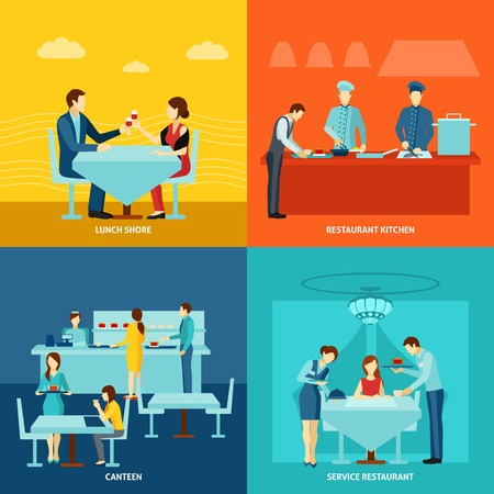 Best restaurant service and fresh food for remote customers 4 flat icons square banner abstract vector illustration Illustration