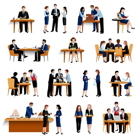 Business office lunch break pause as successful personnel productivity boosting  flat icons collection abstract isolated vector illustration Vectores