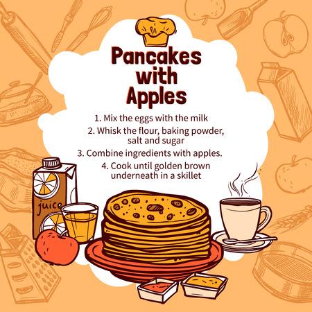 hot cakes: Receta de crepes con la manzana con tortitas dibujados a mano en el fondo con elementos de estilo boceto ilustración vectorial