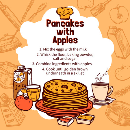 pancake: Recipe of pancakes with apple with hand drawn pancakes on background with sketch style elements vector illustration