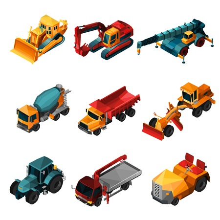 excavate: Isometric construction machines set with low poly bulldozer tractor and excavator isolated vector illustration