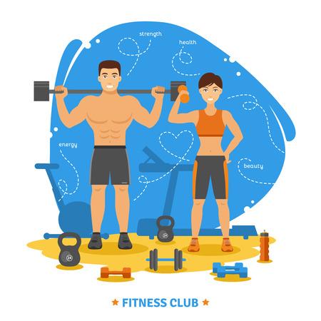 Couple de remise en forme et le concept de club de remise en forme avec des symboles de santé et de beauté force plat illustration vectorielle Banque d'images - 46500121