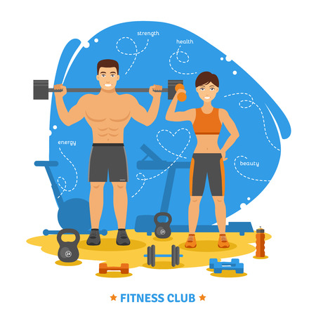 Fitness couple and fitness club concept with strength health and beauty symbols flat vector illustration