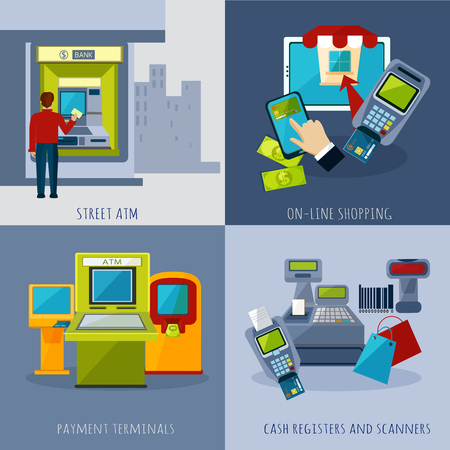 Atm design concept set with payment systems cartoon icons isolated vector illustration Illustration