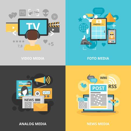 Icone Stampa e media del settore set con foto video analogici e le notizie dei media simboli piatto isolato illustrazione di vettore