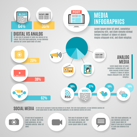 Media infographic set with digital analog and social media symbols flat vector illustration
