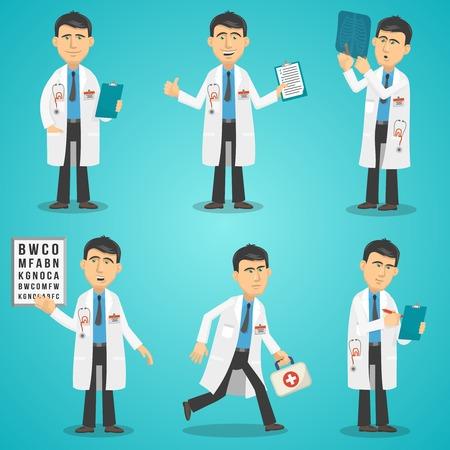 medico caricatura: Carácter médico masculino engastado con radiografía resultados de las pruebas y botiquín de primeros auxilios ilustración vectorial