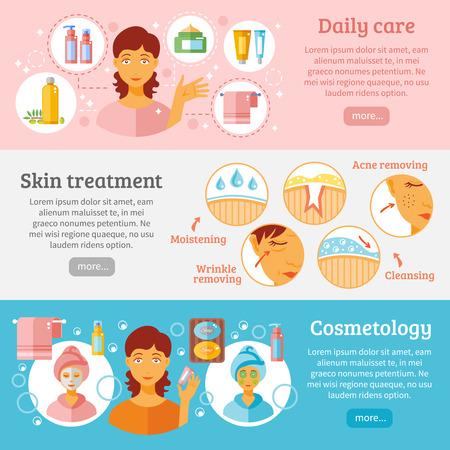 Haut Kosmetik horizontale Banner mit täglichen Pflege und Behandlung Symbole flachen isolierten Vektor-Illustration festgelegt