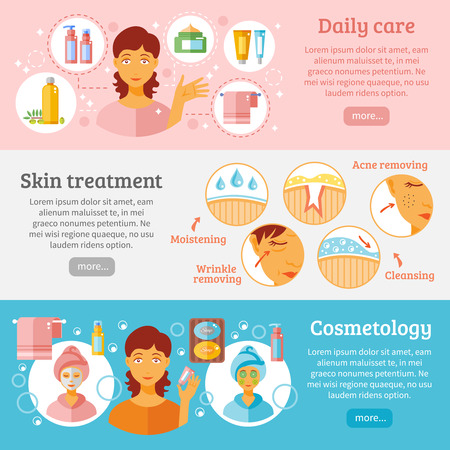 beautiful hair: Skin cosmetology horizontal banners set with daily care and treatment symbols flat isolated vector illustration