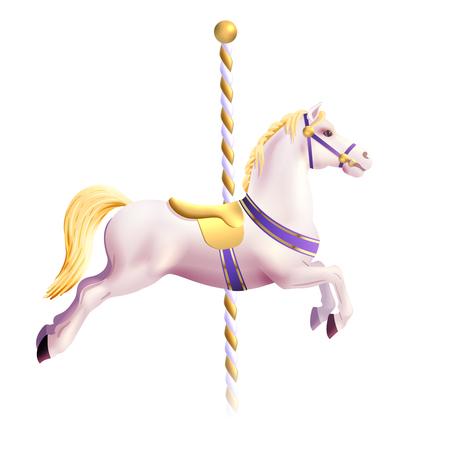 Réaliste jouet cheval de parc d'attractions traditionnel vecteur carrousel illustration Banque d'images - 46500215