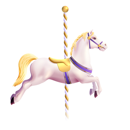 Realistyczne zabawka konia od tradycyjnych Karuzela parku rozrywki ilustracji wektorowych