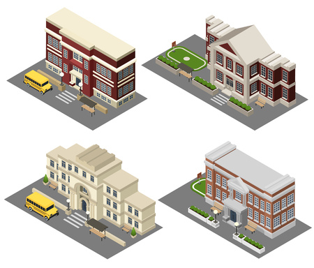 secondary school students: School building isometric icons set with field bus and benches isolated vector illustration