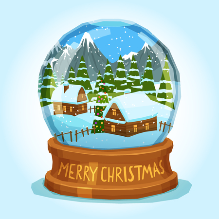 christmas snow globe: Winter landscape of village spruces and ice peak mountains inside merry christmas snow globe card vector illustration