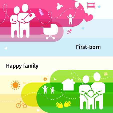 firstborn: Happy family concept horizontal banners set with first-born symbols flat isolated vector illustration Illustration