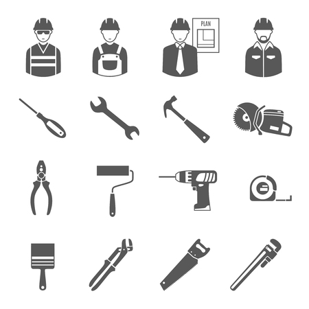 project plan: Construction  engineer with technical project plan workers and tools 16 black icons set  abstract isolated vector illustration