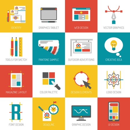 computer graphic: Graphic web and font design flat icons set isolated vector illustration