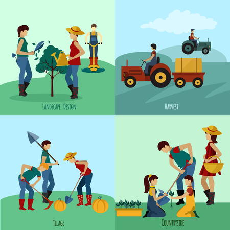 gardening hose: Gardening people design concept set with landscape design flat icons isolated vector illustration Illustration