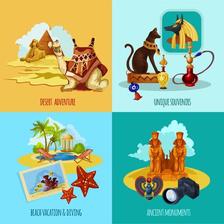 Conjunto turístico del desierto Egipto con dibujos animados y playa aventuras iconos ilustración vectorial