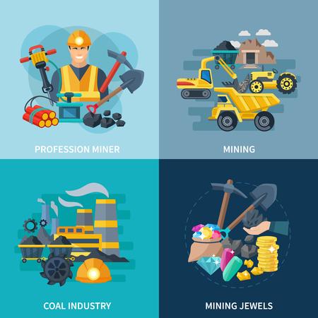 Mining ontwerpconcept set met kolenindustrie en professionele mijnwerker vlakke pictogrammen geïsoleerd vector illustratie Stock Illustratie