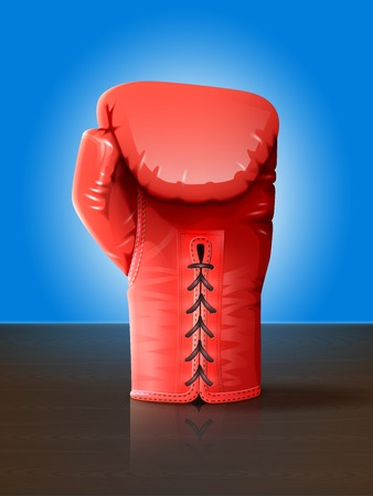 knock: Realistic red leather boxing glove on wooden table vector illustration