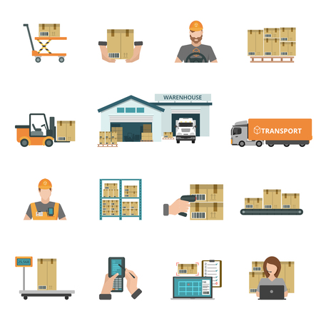 unload: Warehouse and storage icons set with package and transport symbols flat isolated vector illustration