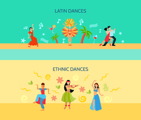 bellydance: Horizontal flat style banners with latin music and oriental ethnic dances isolated vector illustration