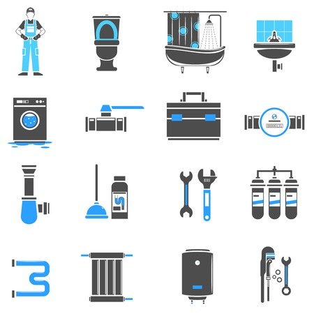 plumber: Plumbing icons flat set with plumber instruments isolated vector illustration