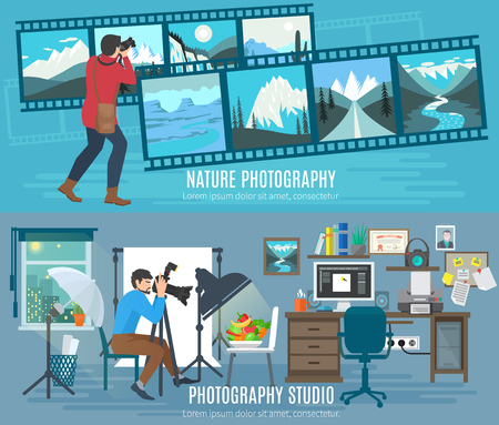 lines background: Photographer horizontal banner set with photography studio flat elements isolated vector illustration